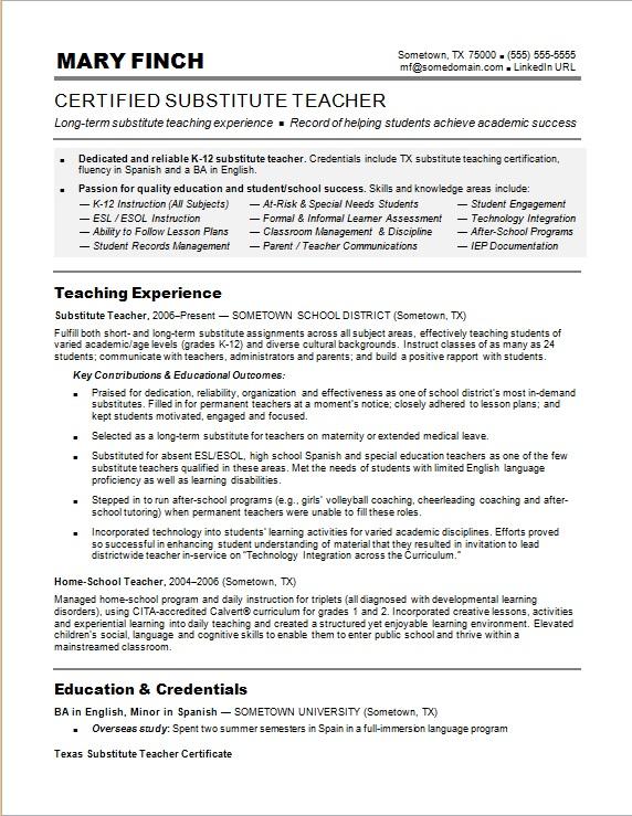 substitute teacher resume samples jobherojobhero