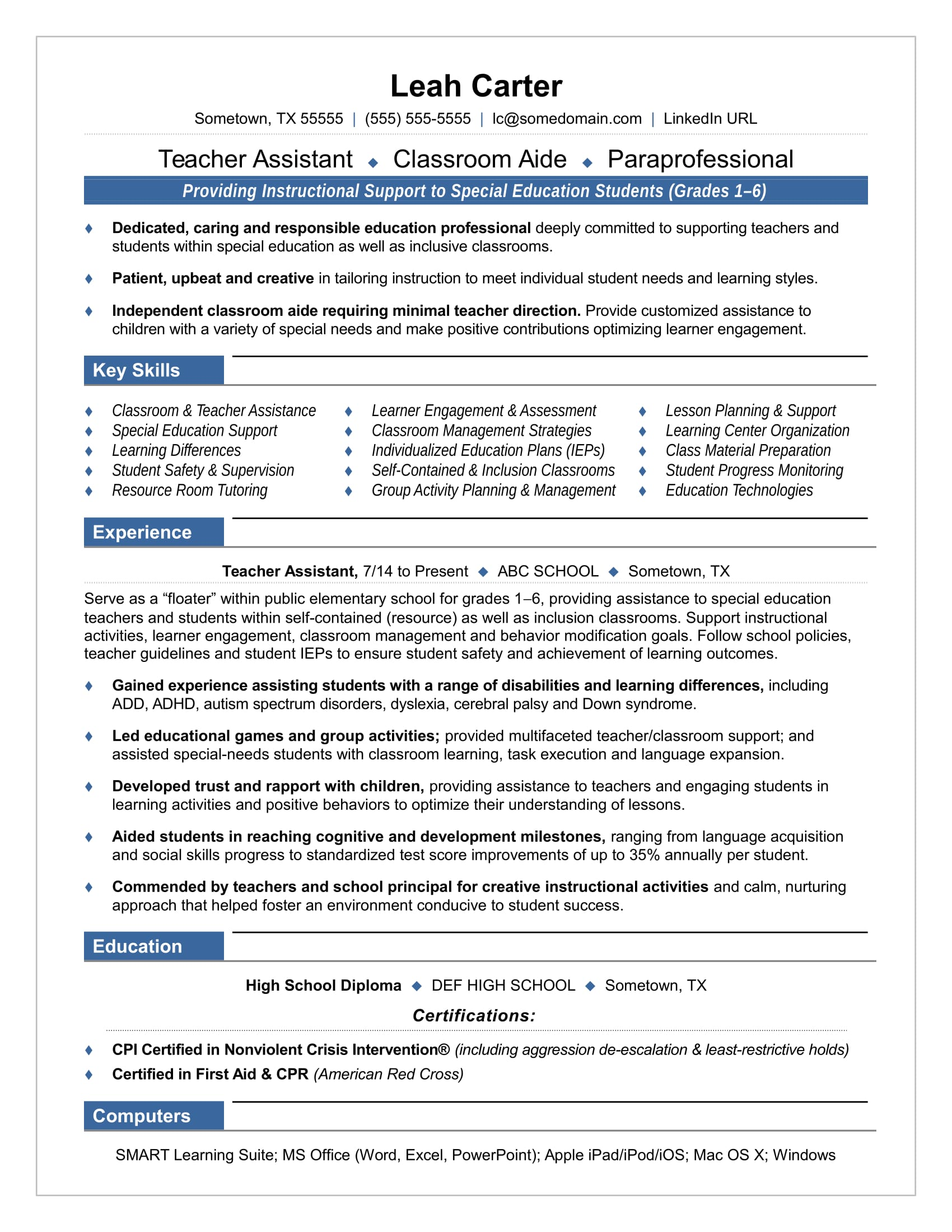 sample resume for teachers assistant in daycare center