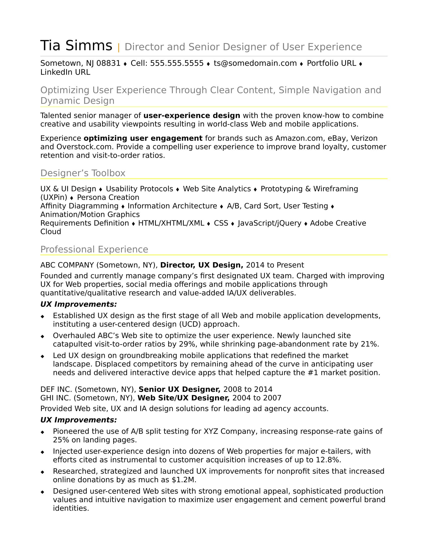 Sample Resume for an Experienced UX Designer  Monstercom