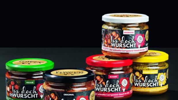 Die Currywurst im Glas gibt es in fünf Sorten. (Foto)
