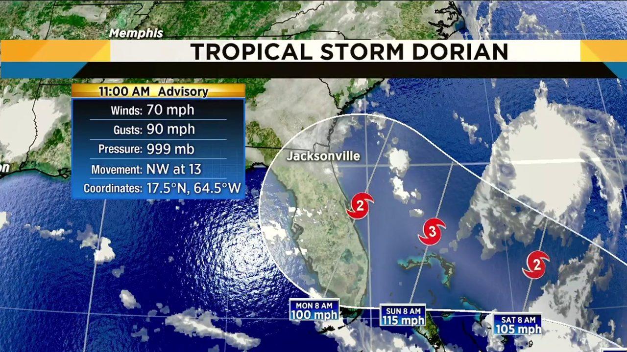 tropical storm dorian now