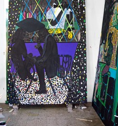 ofili s lime bar and at right house of cards new works in his trinidad studio chris ofili lime bar 2014 courtesy david zwirner [ 727 x 1114 Pixel ]