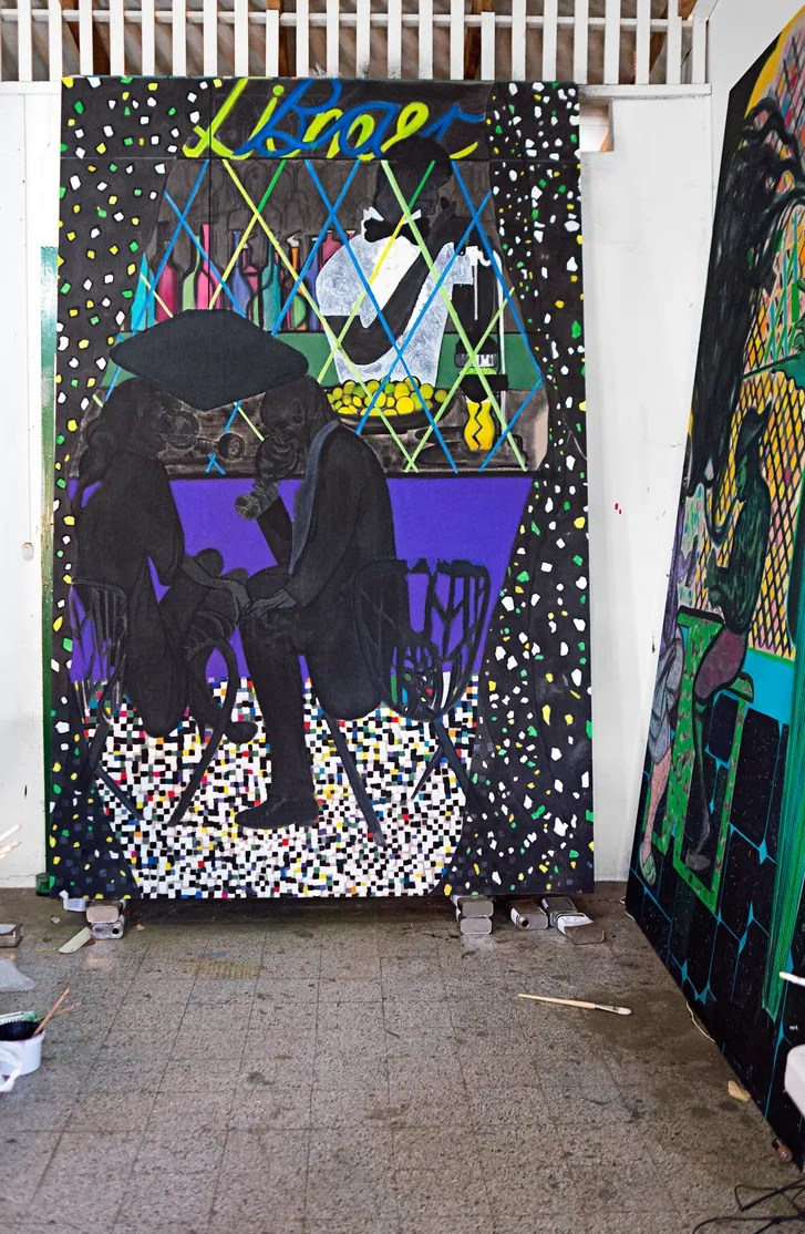 hight resolution of ofili s lime bar and at right house of cards new works in his trinidad studio chris ofili lime bar 2014 courtesy david zwirner