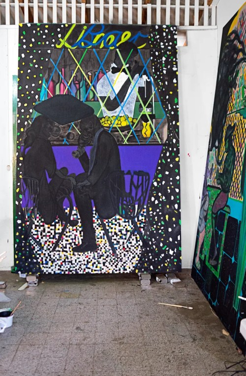 small resolution of ofili s lime bar and at right house of cards new works in his trinidad studio chris ofili lime bar 2014 courtesy david zwirner
