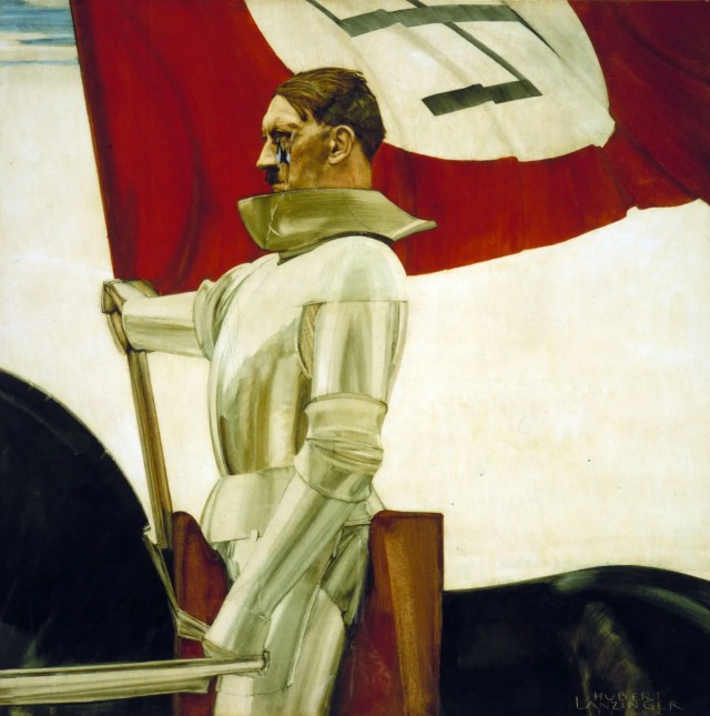 Painting of Hitler sitting on a horse holding a flag
