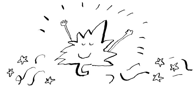 A maple leaf cheering.