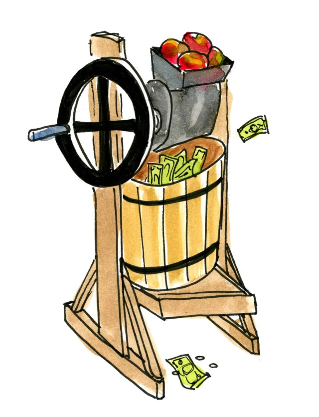 An apple press for making cider.