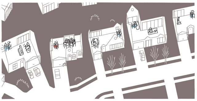 An illustration of a suburban block with stick figure people in their homes.