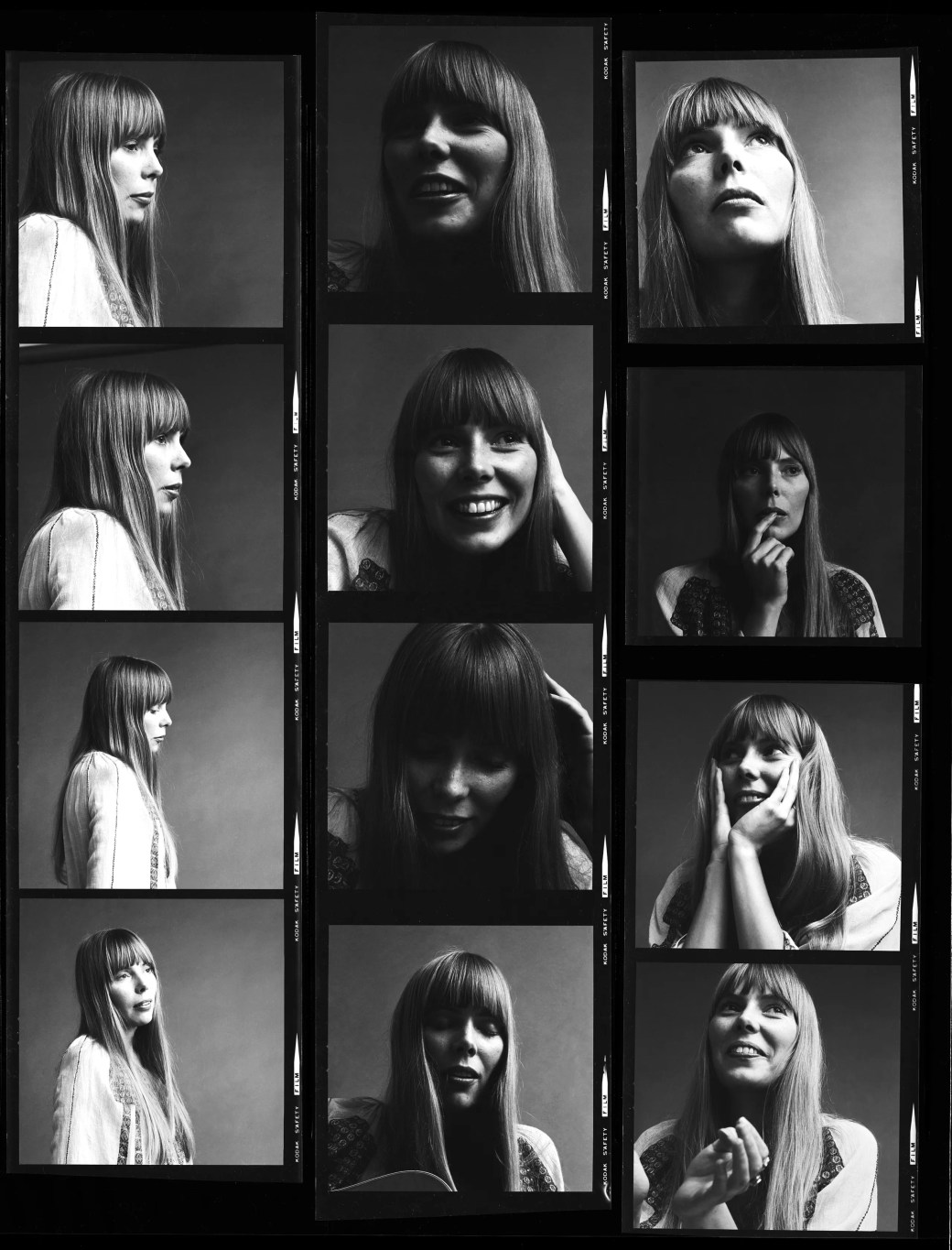 Contact sheet of portraits of Joni Mitchell.