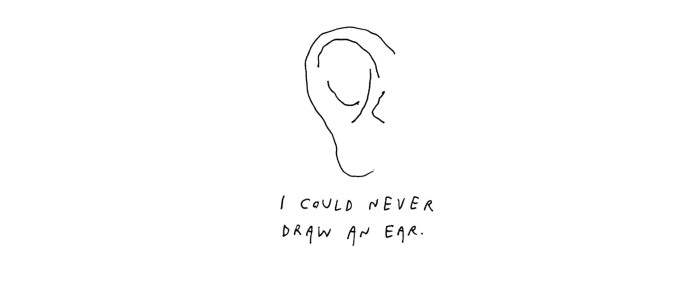 A sketch of a human ear.