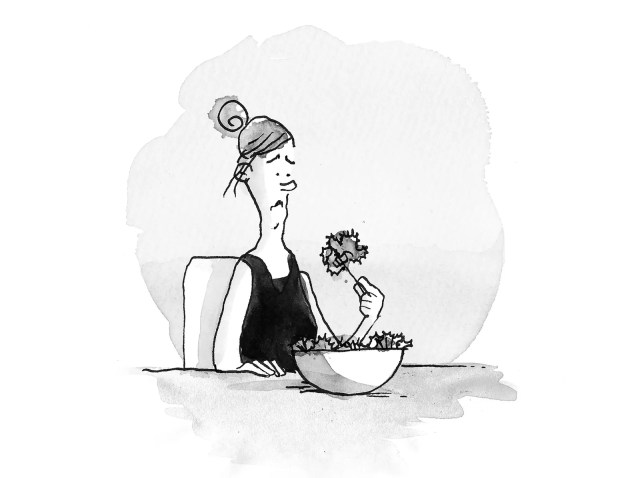 Woman is sad and eating a bowl of kale.