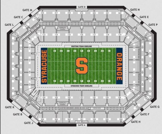 Seating Chart Carrier Dome Syracuse