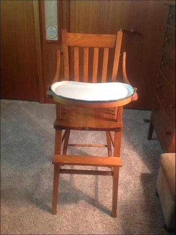 vintage wood high chair comfortable reading old discoverstuff