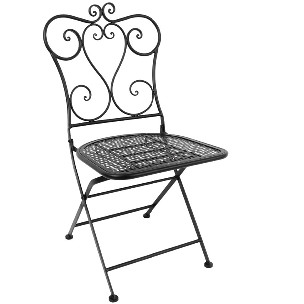 Bolero Steel Classic Folding Patio Chair Black (Pack of 2