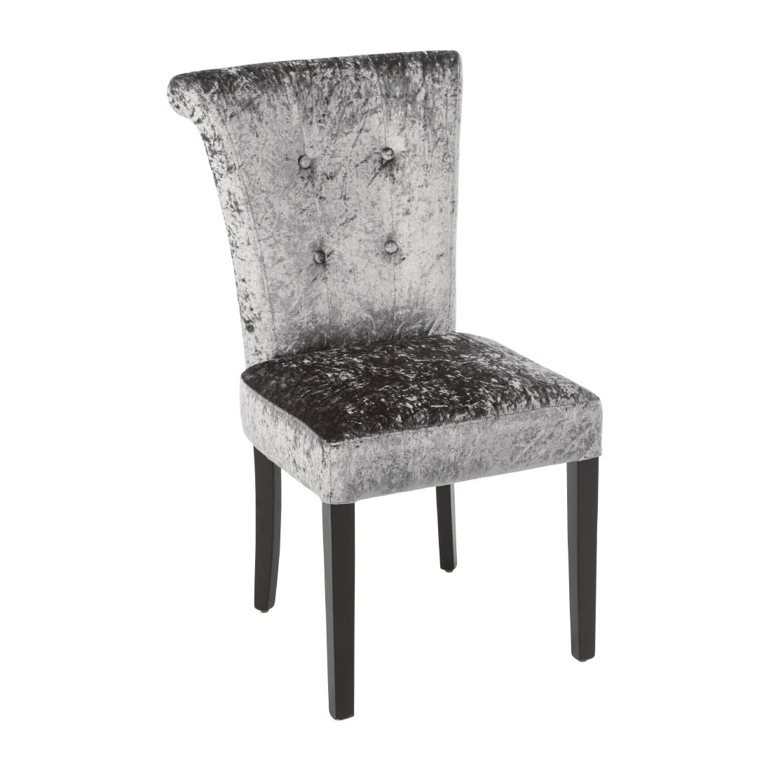 Studded Dining Chairs Bolero Olive Grey Crushed Velvet Dining Chair Pack Of 2