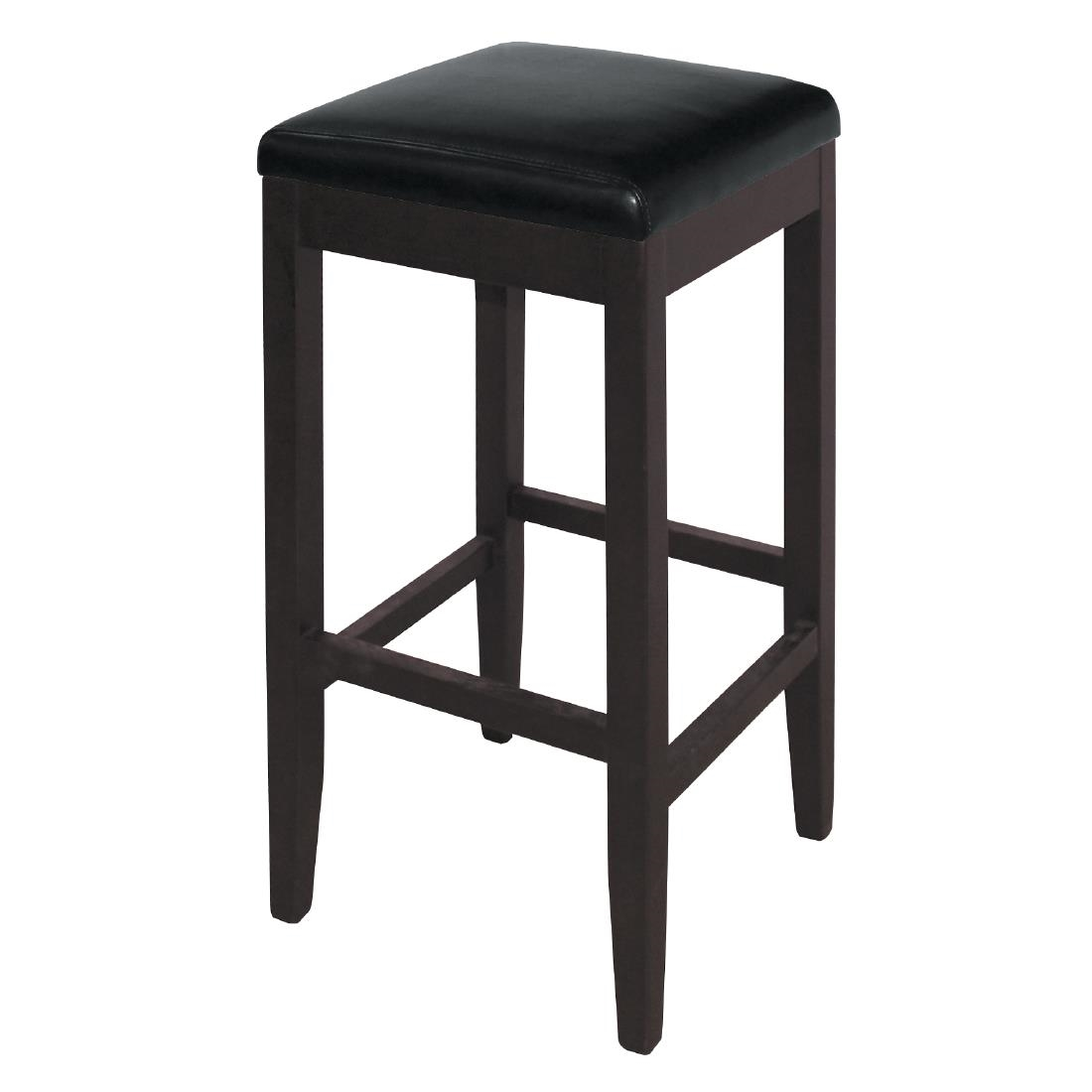Wood Bar Chairs Bolero Black Faux Leather Wooden Bar Stools Pack Of 2