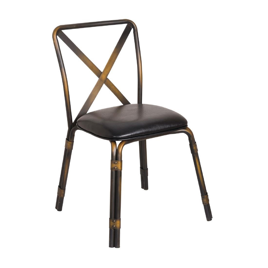 Copper Dining Chairs Bolero Antique Copper Steel Chairs With Black Pu Seat Pack Of 4