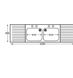 sissons s s sink 2400mm dble bwl inc taps double drainer sink midi range  [ 1100 x 1100 Pixel ]