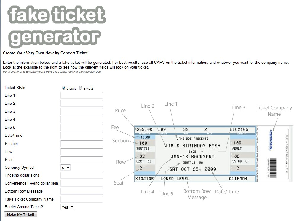 A screenshot of the website that allows you to make realistic-looking show tickets.