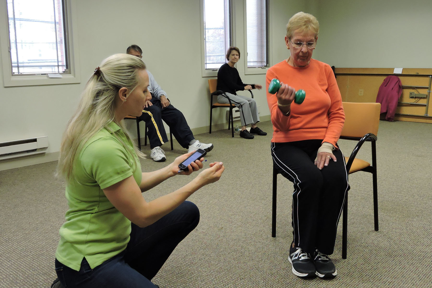 chair stand test elderly wheelchair parts participants at sage eldercare in summit 39s exercise class