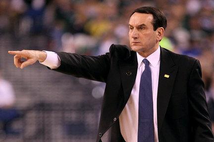 Duke men's basketball coach Mike Krzyzewski