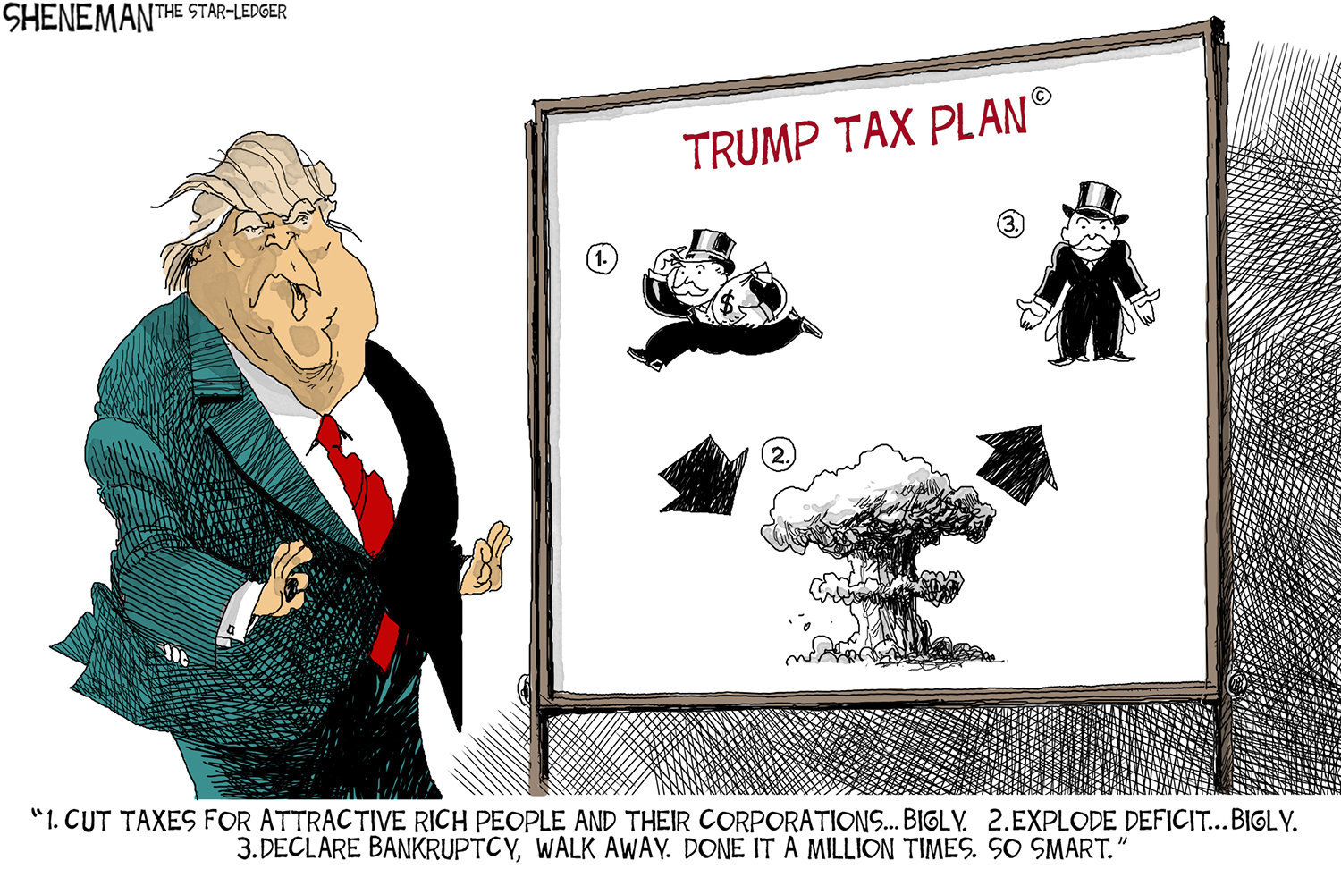 Image result for cartoons on trumps tax cuts proposal