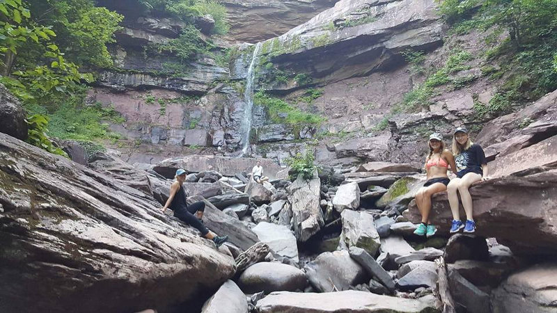 Photos of Ezra Kennedy (center), the Westfield teenager who died when he slipped and fell while hiking the Kaaterskill Falls (pictured) on July 27, 2016. (Courtesy Donna Kennedy)