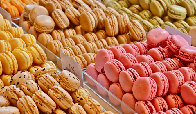 A display case full of colorful macaroons in Paris, France
