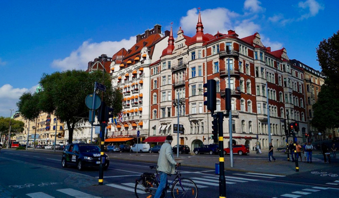 One of the many historic and posh buildings in the Östermalm district of Stockholm Sweden