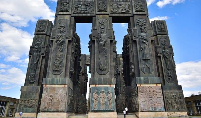 The massive pillars of the Chronicle of Georgia in Georgia