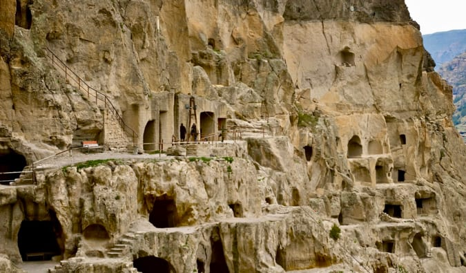 The many caves of the Vadrzia Cave Monastery in Aspindza, Georgia