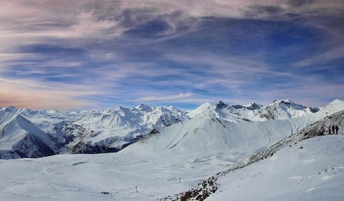 The massive snowy slopes of Gudauri, Georgia in the winter