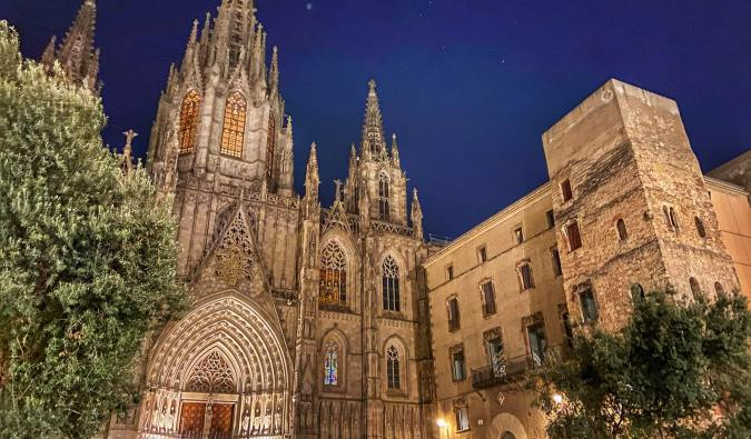 The famous Barcelona Cathedral at night in Spain