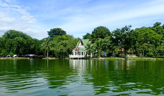 The calms waters of the lake in Lumpini Park, Bangkok, Thailand