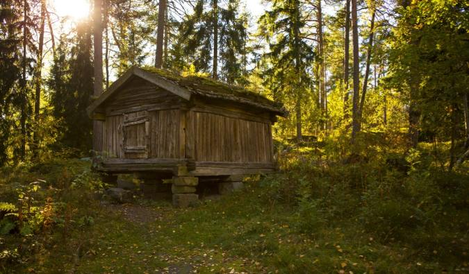 An old wooden house on Seurasaari Island in Helsinki, Finland