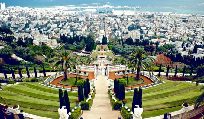 The stunning gardens near the coast in Haifa, Israel