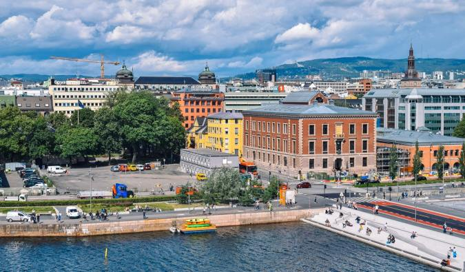 Downtown Oslo, Norway in the summer near the water