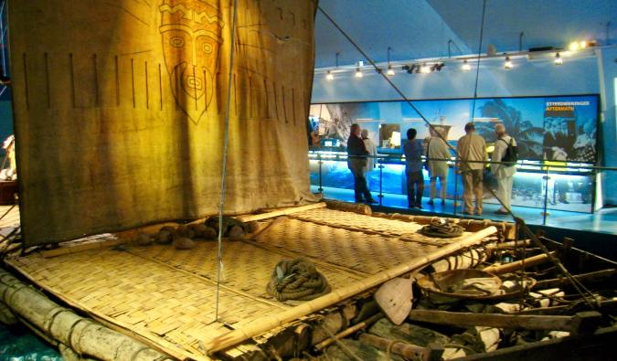 The famous Kon-Tiki balsa raft in Oslo, Norway