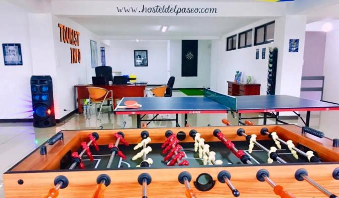 Games in the common area of Hostel Del Paseo in San José, Costa Rica