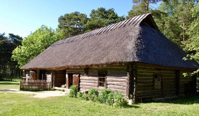 An historic wooden building at the Estonian Open Air Museum in Tallinn, Estonia