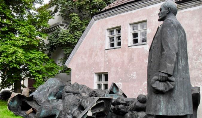 An old statue of Lenin at the Soviet Statue Graveyard in Tallinn, Estonia