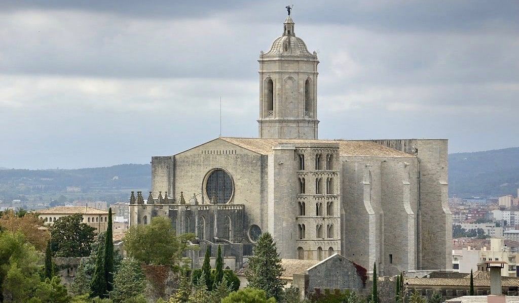 The towering white Cathedral of Girona, Spain