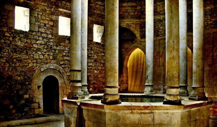 The ancient Arab baths in Girona, Spain
