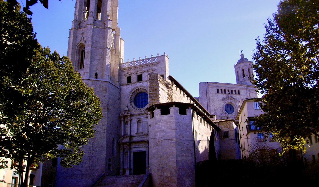 The exterior of the Basilica de Sant Feliu in Girona, Spain