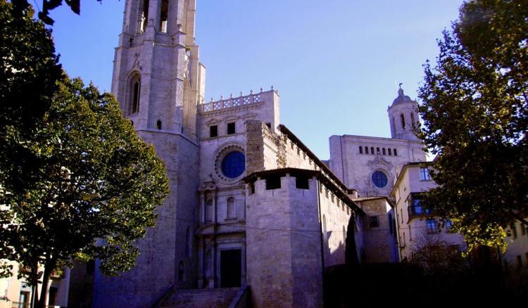 The exterior of the Basilica de Sant Feliu in Girona, Spain