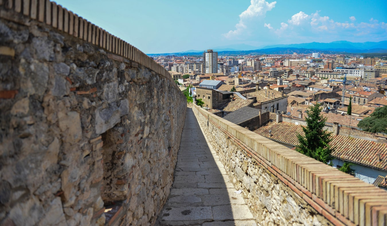 The ancient city walls of Girona, Spain