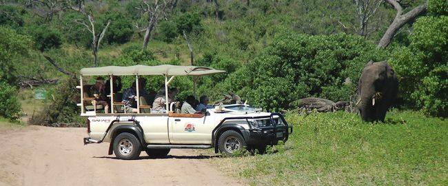 A vehicle from an overland safari tour in Africa