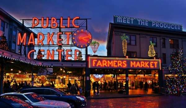 neon lit farmer's market in seattle
