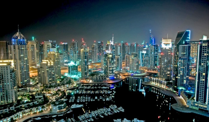 Dubai skyscrapers lit up at night