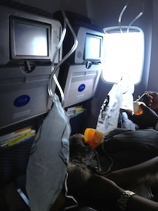 oxygen masks after the plane depressurized